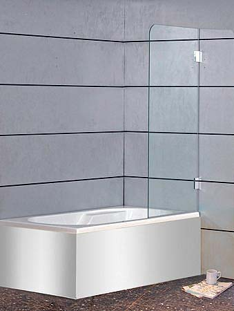 a1b badewannen duschwand 1 fl gel glas klar verchromt h 150cm. Black Bedroom Furniture Sets. Home Design Ideas