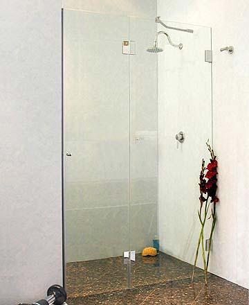 by2n nischen t ren duschabtrennung glas klar verchromt h 195cm. Black Bedroom Furniture Sets. Home Design Ideas