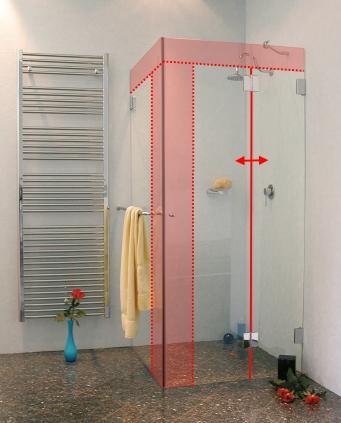 eck dusche ma sonderanfertigung mit seitenwand glas. Black Bedroom Furniture Sets. Home Design Ideas