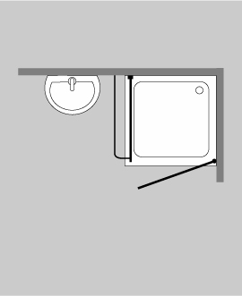 ak1s eck duschkabine festwand glas klar verchromt h 173cm. Black Bedroom Furniture Sets. Home Design Ideas