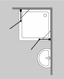 axe eck duschkabine 2 t ren glas klar verchromt h 195cm. Black Bedroom Furniture Sets. Home Design Ideas
