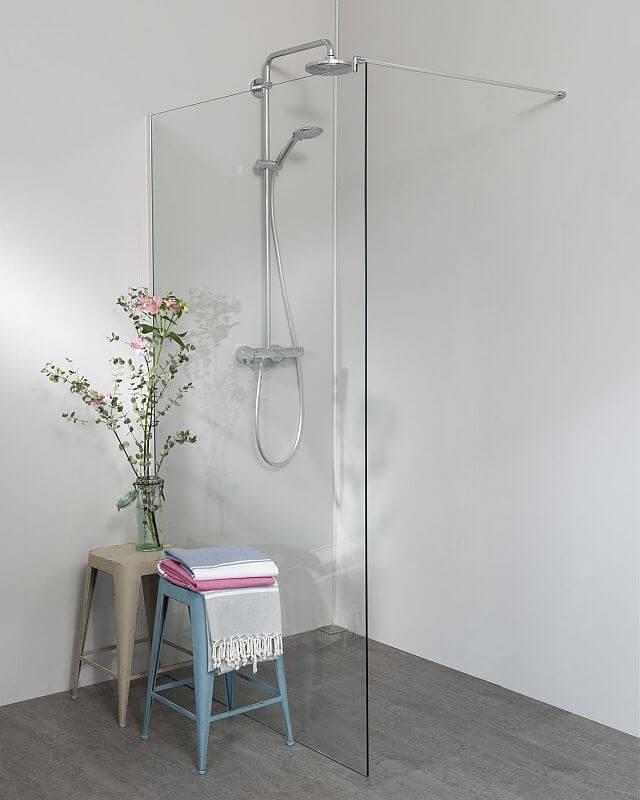 PAPX, Trennwand Dusche mit Klemmprofil für Wandausgleich chromfarben, Glas  20mm