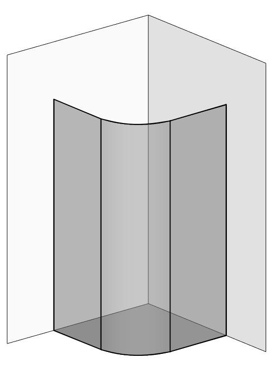 Viertelkreis Duschkabine