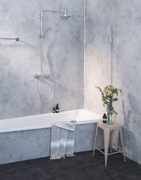 A1B, Badewannen Duschwand, 1 Flügel, Glas klar, verchromt, H=150cm