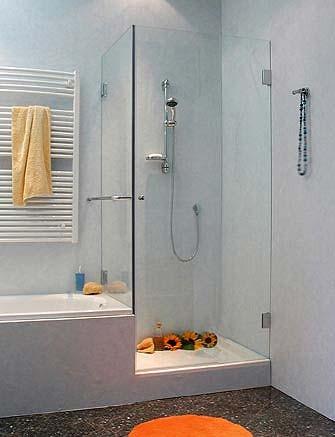 Eck-Dusche mit Festwand verkürzt ESG Glas Chrom