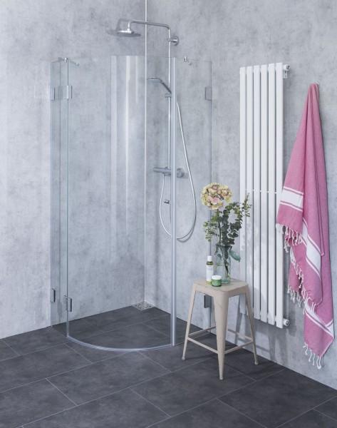 A1V, Viertelkreis-Rund-Duschkabine, 1 Türe, Glas klar, verchromt, H=195cm