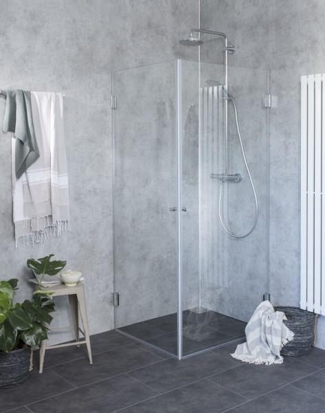 B1W, Bündige Eck-Dusche, 2 Türen, Glas klar, verchromt, H=195cm