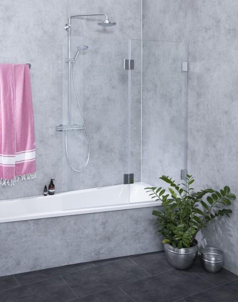 A2B, Badewannen Duschwand, 2 Flügel, Glas klar, verchromt, H=150cm
