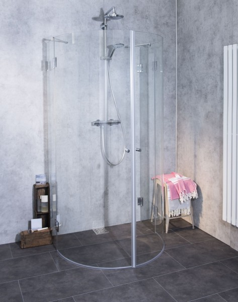 A2H, Halbkreis-Rund-Duschkabine, 2 Türen, Glas klar, verchromt, H=195cm