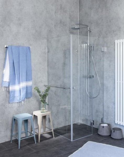 B2S, Bündige Eck-Dusche, Festwand, Glas klar, verchromt, H=195cm
