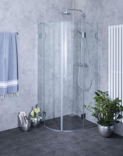 A2V, Viertelkreis-Rund-Duschkabine, 2 Türen, Glas klar, verchromt, H=195cm