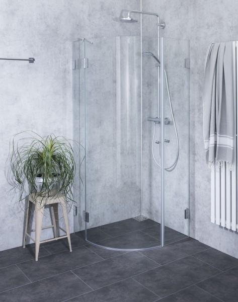 ACV, Viertelkreis-Rund-Duschkabine + Innentüre, Glas klar, verchromt, H=195cm