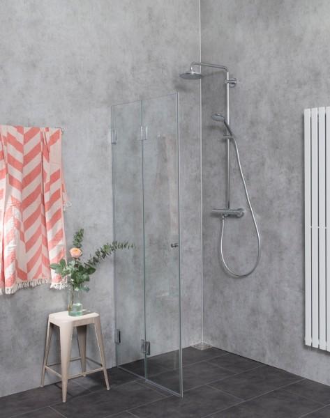AKFO, faltbare Duschtrennwand, 2 Türen, Glas klar, verchromt, H=173cm