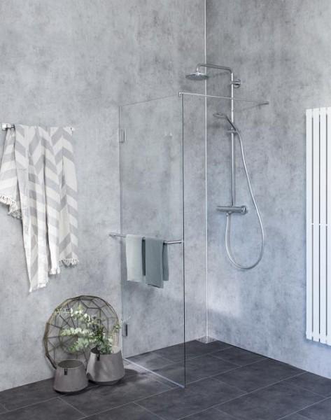 BPO, Duschtrennwand freistehend, Glas klar, verchromt, H=195cm