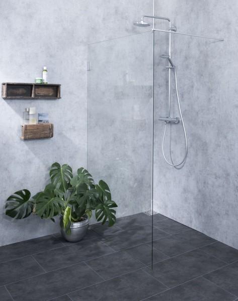 APX, Duschtrennwand freistehend, Glas klar, verchromt, H=195cm