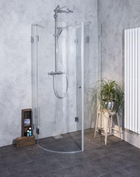 AU1V, dreiseitige Rund-Dusche, Glas klar, verchromt, H=195cm