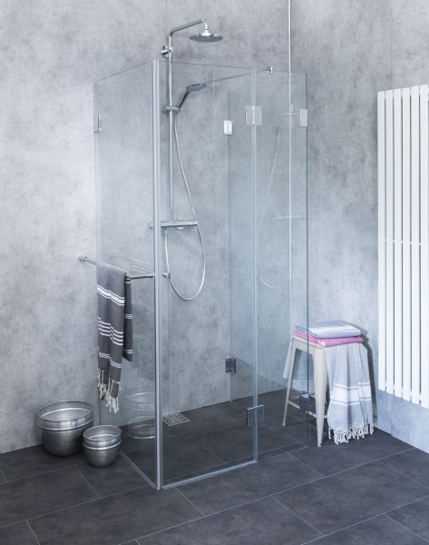 BU2S, Bündige dreiseitige U-Duschkabine, Glas klar, verchromt, H=195cm