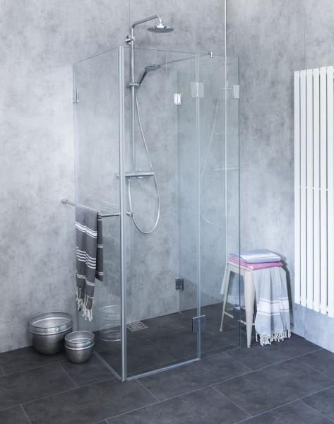 AU2S, dreiseitige U-Dusche, Glas klar, verchromt, H=195cm