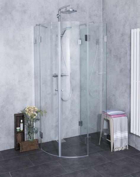 AU2V, dreiseitige Rund-Dusche, Glas klar, verchromt, H=195cm