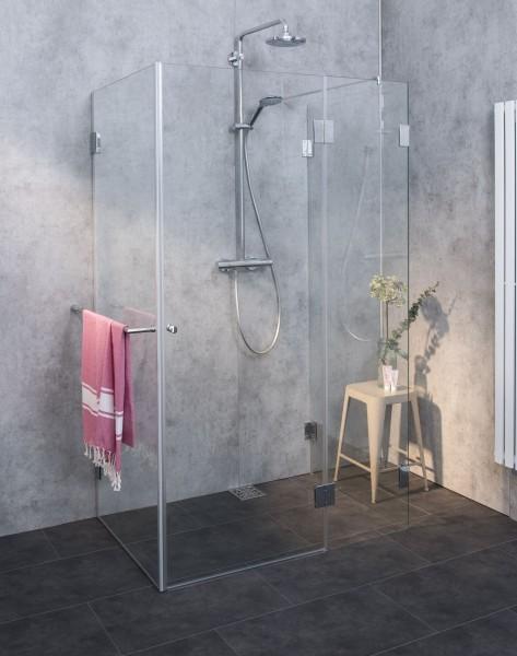 AUXS, dreiseitige U-Dusche, Glas klar, verchromt, H=195cm