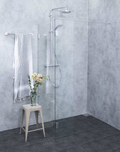 BWO, Bündige Duschtrennwand freistehend, Glas klar, verchromt, H=195cm