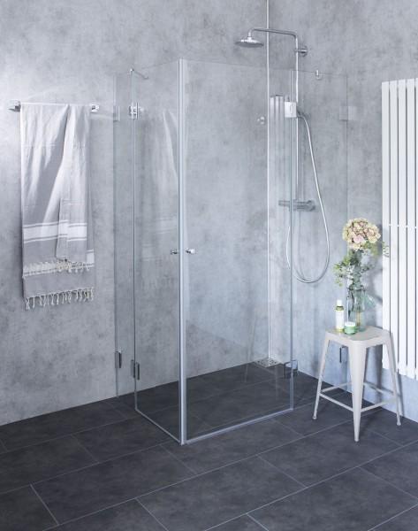 BXE, Bündige Eck-Dusche, 2 Türen, Glas klar, verchromt, H=195cm