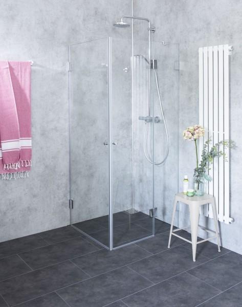 BaS, Bündige Eck-Dusche, 2 Türen, Glas klar, verchromt, H=195cm
