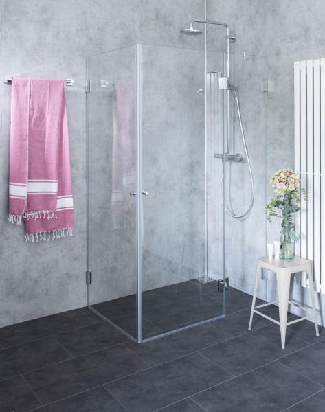 AaX, Eck-Duschkabine, 2 Türen, Glas klar, verchromt, H=195cm