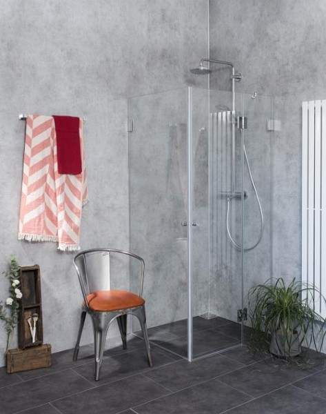 AiS, Eck-Duschkabine, 2 Türen, Glas klar, verchromt, H=195cm