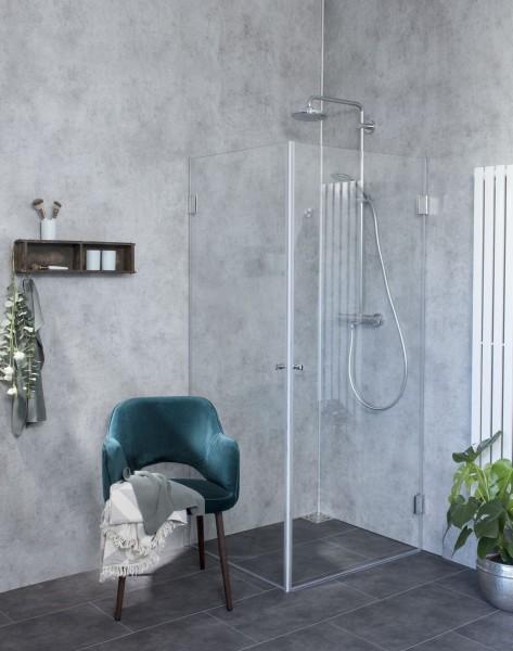 AKiW, Eck-Duschkabine, 2 Türen, Glas klar, verchromt, H=173cm