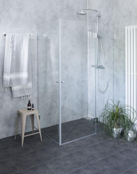 AiX, Eck-Duschkabine, 2 Türen, Glas klar, verchromt, H=195cm