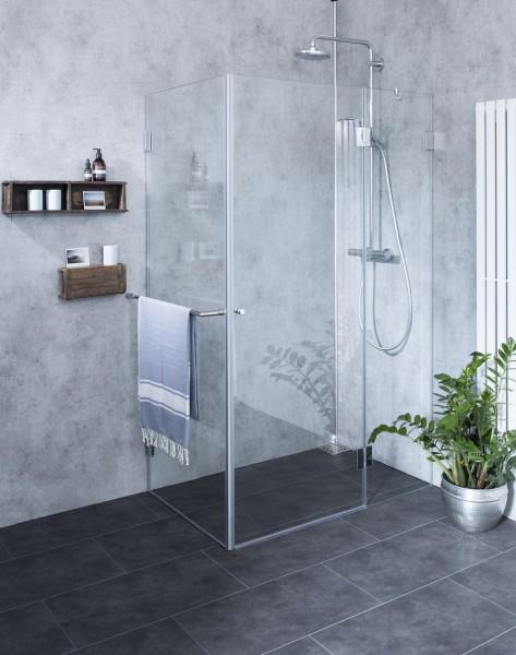 BXS, Bündige Eck-Dusche, Festwand, Glas klar, verchromt, H=195cm