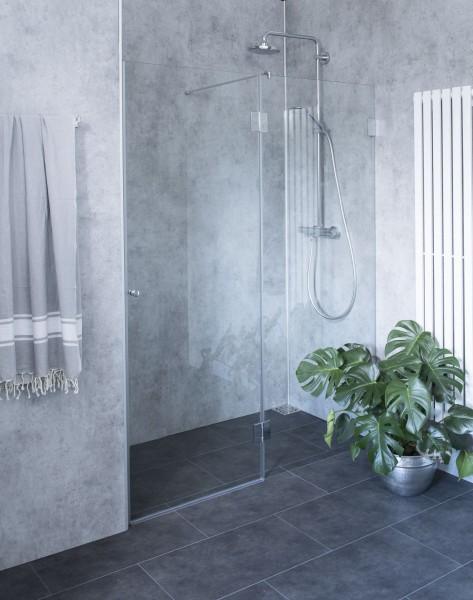 BYXN, Nischen-Türen Duschabtrennung, Glas klar, verchromt, H=195cm