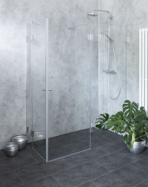 BYXE, Bündige Eck-Dusche, 2 Türen, Glas klar, verchromt, H=195cm