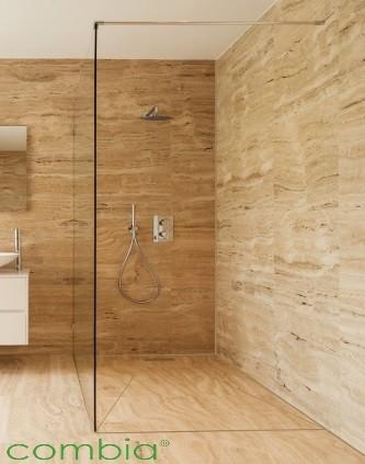 DBM1010-E, bodengleiches verfliesbares Dusch-Bodenelement mit Duschrinne, Eckig, Duschboard auf Maß bis 100 x 100 cm