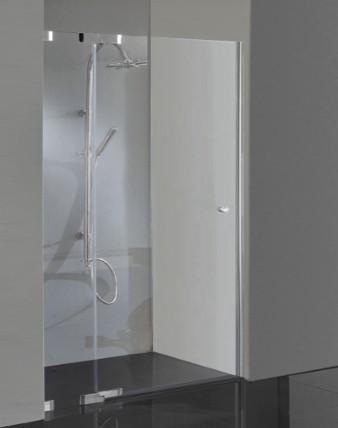 TAYN, Dusch Pendeltür in Duschnische mit Hebescharnieren, rahmenlos, Glas 8mm, verchromt