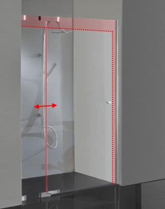 TM2N, Duschtür Sondermaß in Nische, Hebemechanismus Pendeltür, Glas 8mm, verchromt