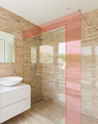 TMPO, Duschglaswand Maßanfertigung, rahmenlos mit Wandverstellung, Glas 8mm, chrom