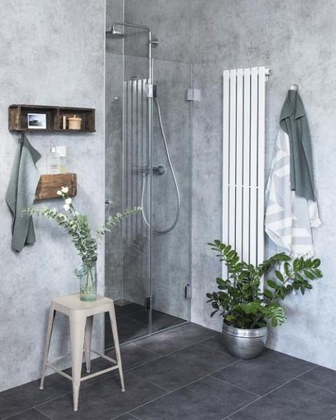 F1N, Nischen-Türen Falt-Duschabtrennung, Glas klar, verchromt, H=195cm