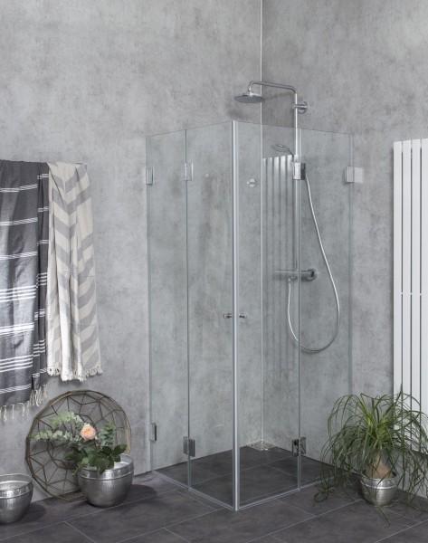 FK1W, Eck Falt-Duschkabine, 2 Türen, Glas klar, verchromt, H=173cm