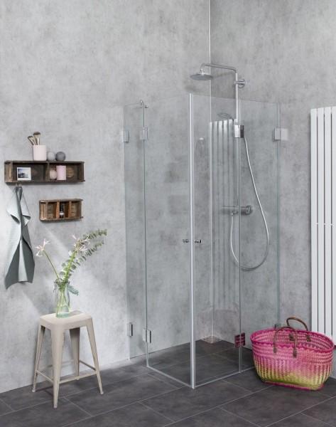 F2E, Eck Falt-Duschkabine, 2 Türen, Glas klar, verchromt, H=195cm