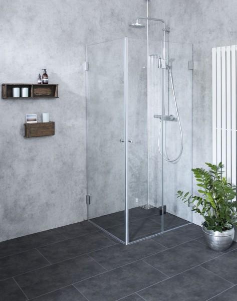 FaS, Eck Falt-Duschkabine, 2 Türen, Glas klar, verchromt, H=195cm