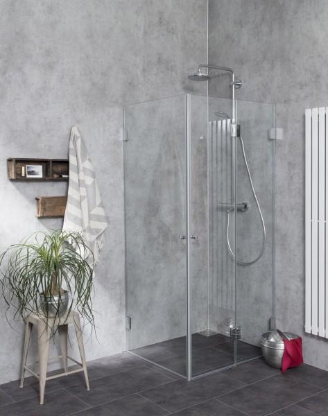 FiS, Eck Falt-Duschkabine, 2 Türen, Glas klar, verchromt, H=195cm