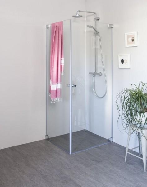 Eck Duschkabine mit 2 Pendeltüren an Wand