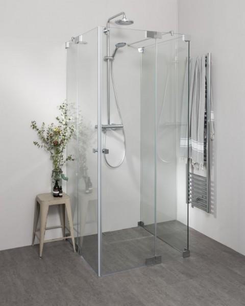 Duschkabine U Form mit 2 Pendeltüren als Eckeinstieg, Sondermaße