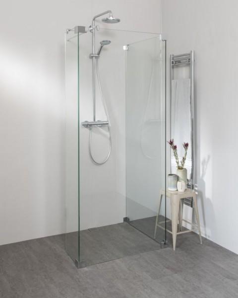 Begehbare Dusche: Freistehende Duschwand 3 Seiten, mit Seitenwand und Festteil