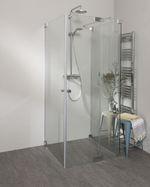 Duschkabine U Form mit 2 Pendeltüren & Festwand, Sondermaße