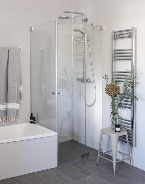 Eck Duschkabine neben Badewanne mit 2 Pendeltüren, Sondermaße groß