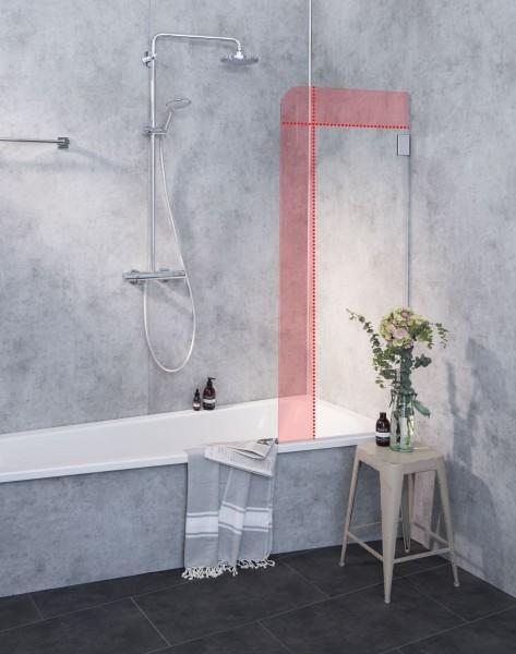 M1B, Badewannenaufsatz nach Maß, Glaswand Badewanne, 1 Flügel, Klarglas, Chrom