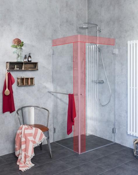 M1S, Eck-Duschkabine mit voll öffnender Türe und Glaswand nach Maß, Klarglas, Chrom